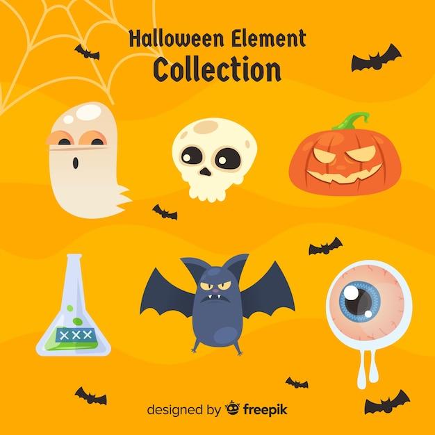 Collezione di elementi di halloween disegnata a mano colorata Vettore gratuito