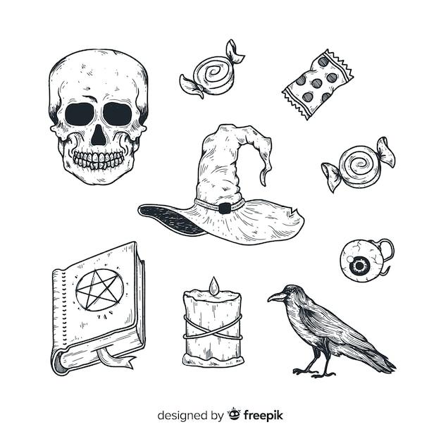 Collezione di elementi di halloween disegnata a mano realistica Vettore gratuito