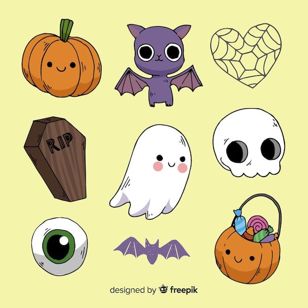 Collezione di elementi di halloween disegnato a mano classico Vettore gratuito