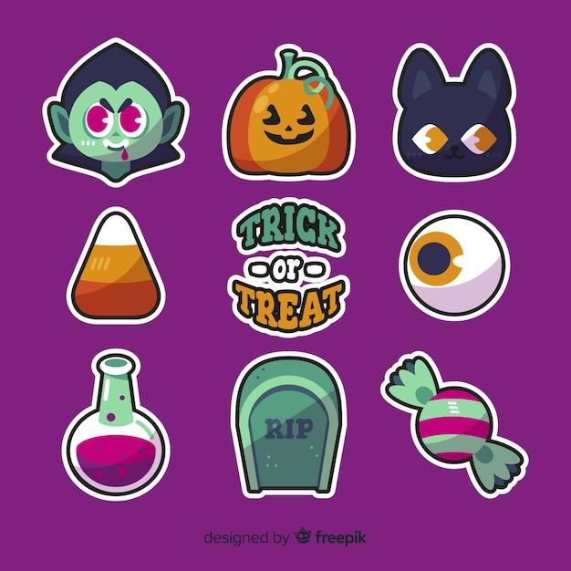 Collezione di elementi di halloween in design piatto Vettore gratuito