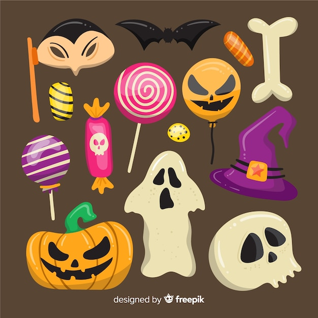 Collezione di elementi di halloween su design piatto Vettore gratuito