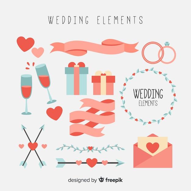 Collezione di elementi di nozze piatte Vettore gratuito