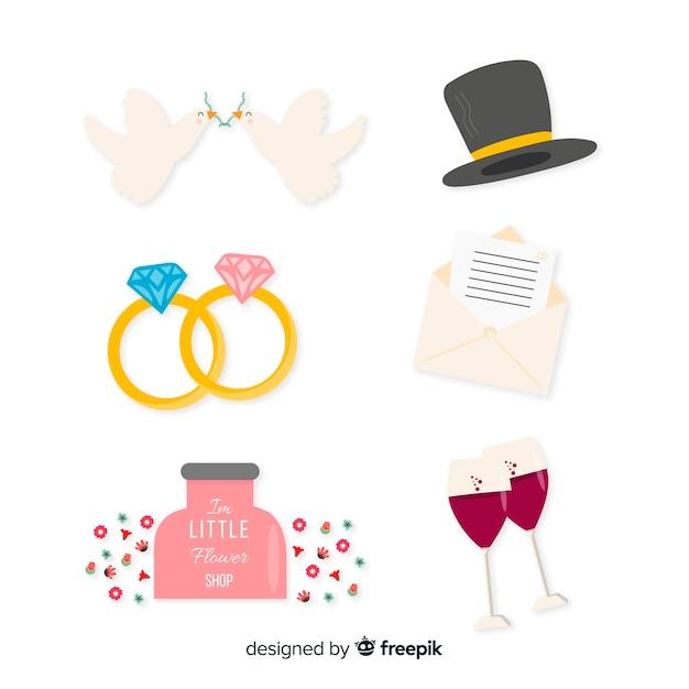 Collezione di elementi di nozze Vettore gratuito