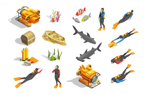 Collezione di elementi di nuoto subacqueo Vettore gratuito