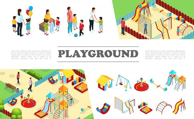 Collezione di elementi di parco giochi per bambini isometrici con scivoli altalene playhouse altalene scale sandbox barre colorate genitori con bambini Vettore gratuito