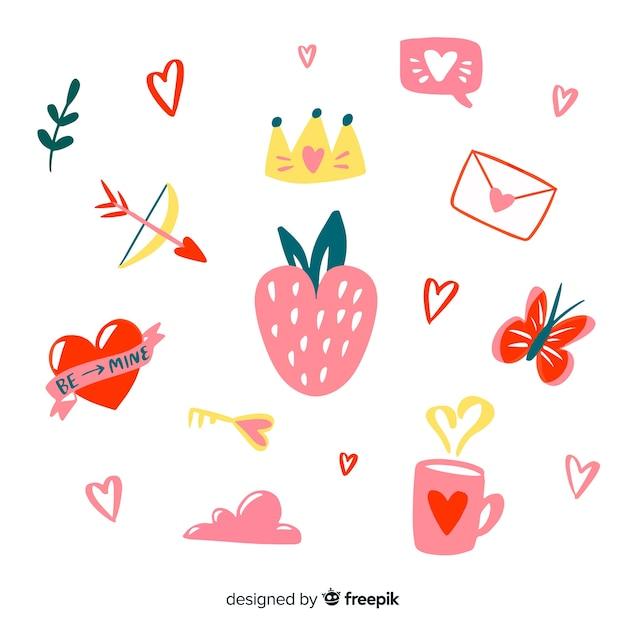 Collezione di elementi di san valentino Vettore gratuito