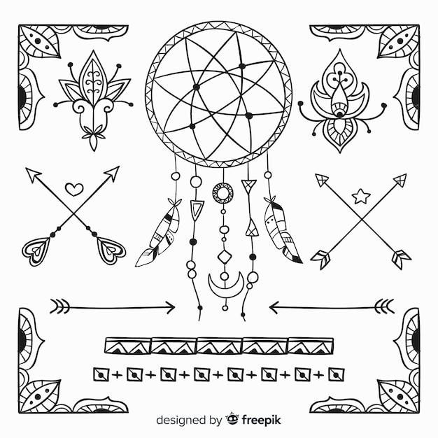 Collezione di elementi di stile boho disegnati a mano Vettore gratuito
