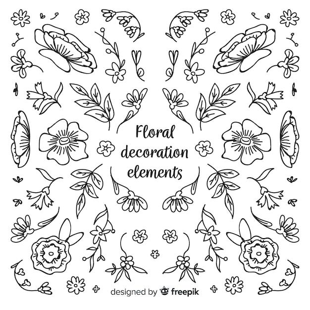 Collezione di elementi floreali decorativi Vettore gratuito