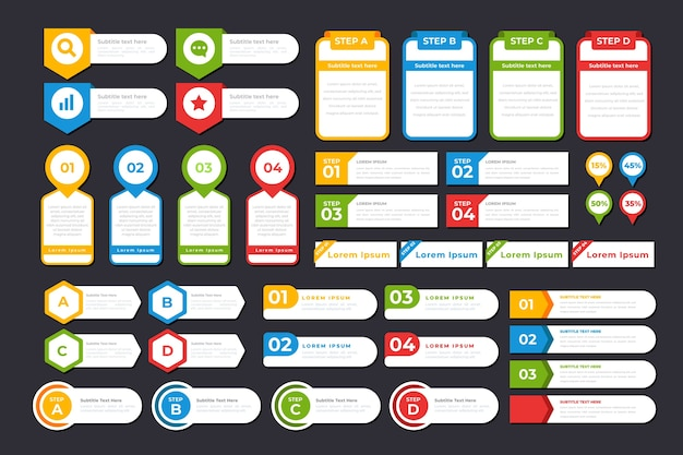 Collezione di elementi infographic design piatto Vettore gratuito
