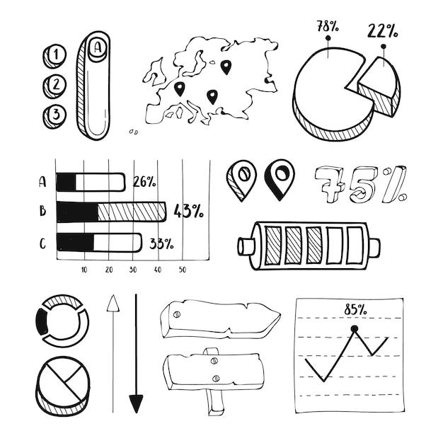 Collezione di elementi infographic disegnati a mano Vettore gratuito