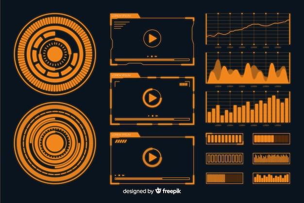 Collezione di elementi infographic ologramma futuristico Vettore gratuito