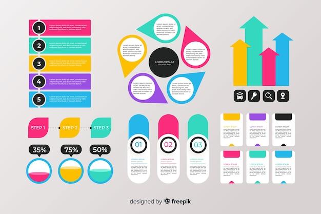 Collezione di elementi infographic piatta Vettore gratuito
