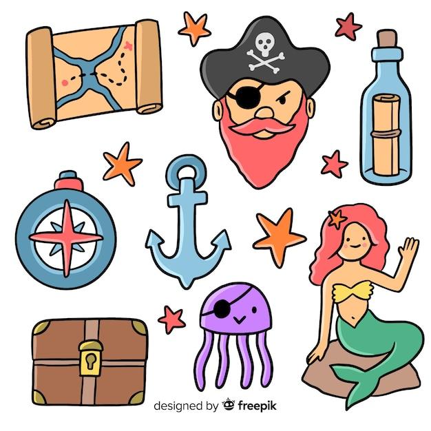 Collezione di elementi marini disegnati a mano Vettore gratuito