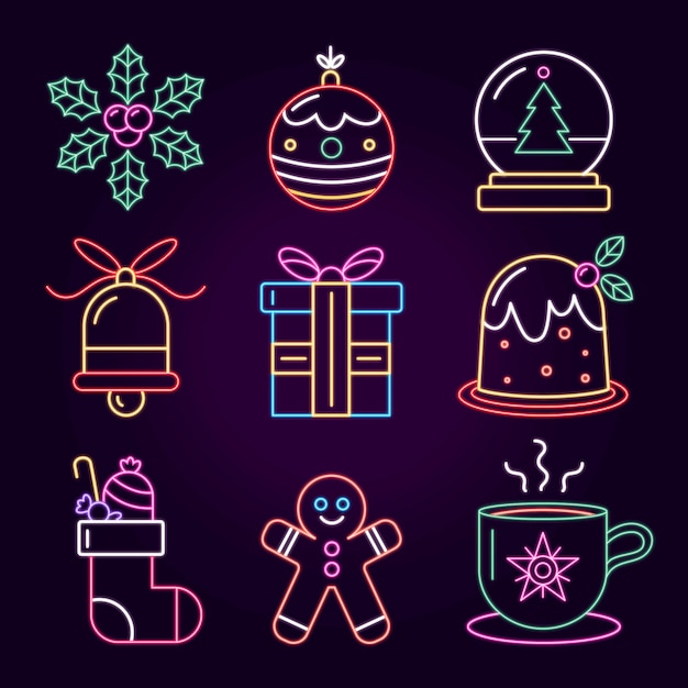 Collezione di elementi natalizi al neon Vettore gratuito