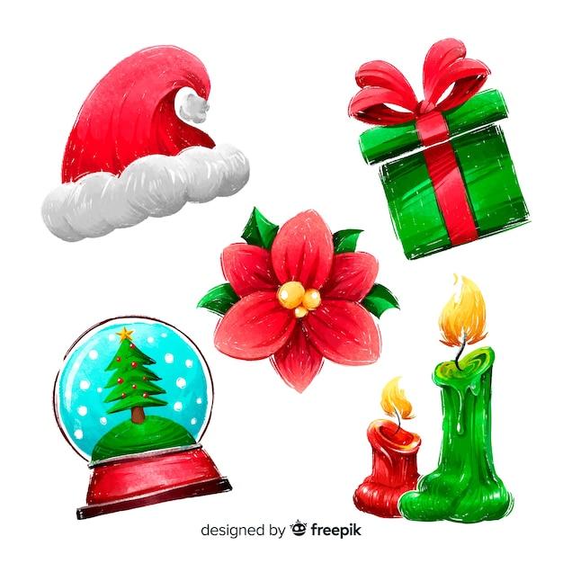 Collezione di elementi natalizi dell'acquerello Vettore gratuito