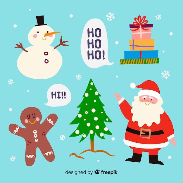 Collezione di elementi natalizi disegnati a mano Vettore gratuito