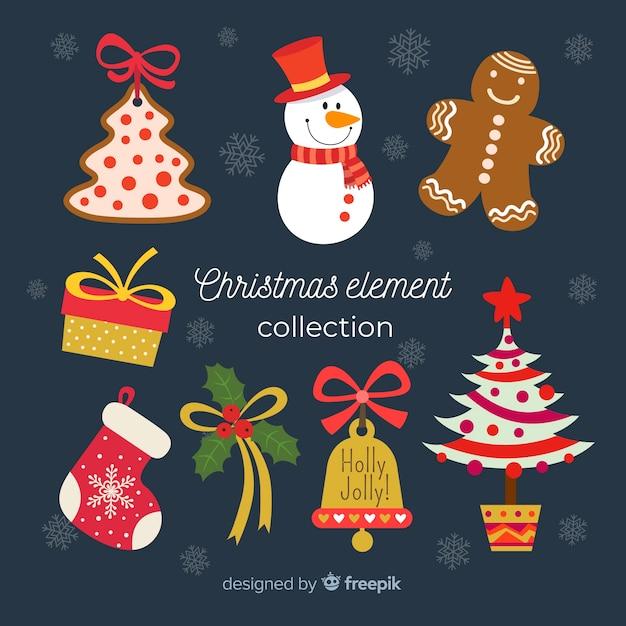 Collezione di elementi natalizi in design piatto Vettore gratuito