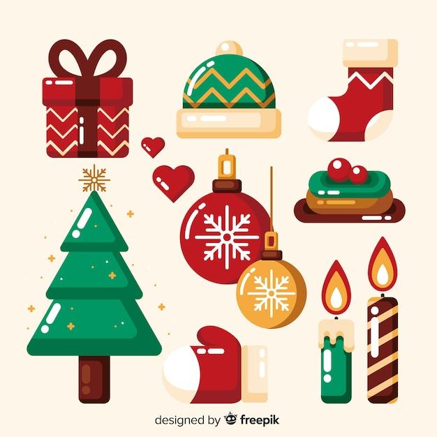 Collezione di elementi natalizi piatti Vettore gratuito