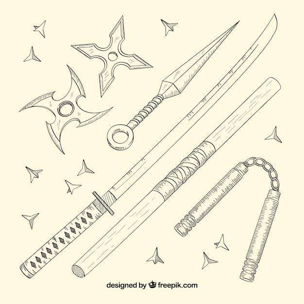 Collezione di elementi ninja disegnati a mano Vettore gratuito