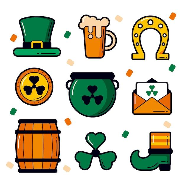 Collezione di elementi per la festa di san patrizio oggetti fortunati e birra Vettore gratuito