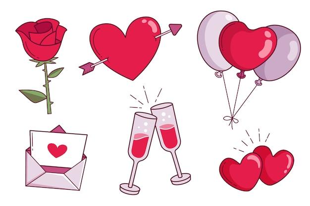 Collezione di elementi per san valentino Vettore gratuito