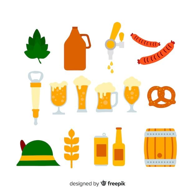 Collezione di elementi più oktoberfest design piatto Vettore gratuito
