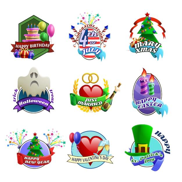 Collezione di emblemi celebrazioni di feste Vettore gratuito