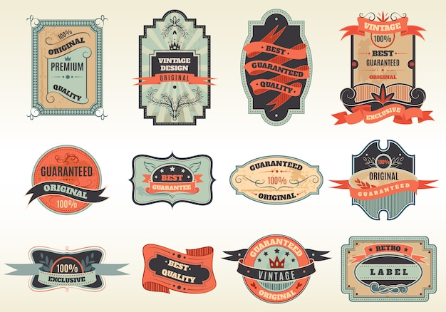 Collezione di emblemi di etichette retrò originali Vettore gratuito