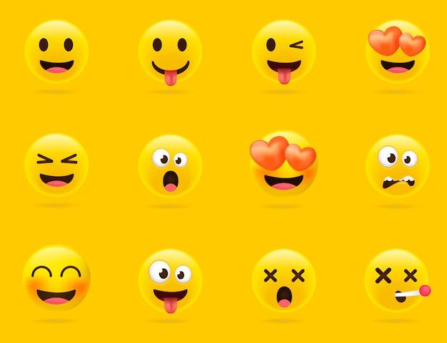 Collezione di emoji dei cartoni animati. set di emoticon con umore diverso. stile 3d Vettore Premium