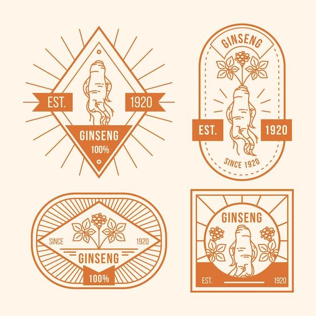 Collezione di etichette barattolo di ginseng Vettore gratuito