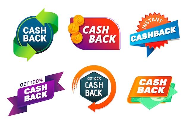 Collezione di etichette cashback Vettore gratuito
