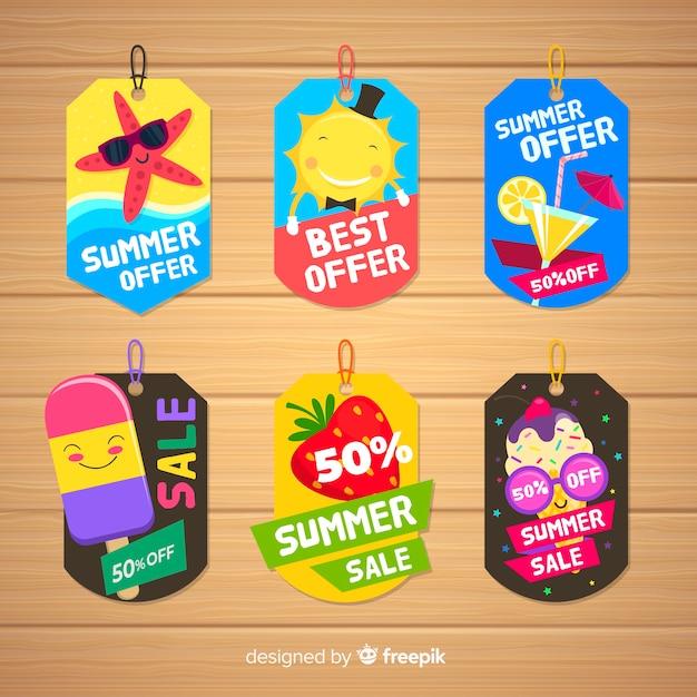 Collezione di etichette colorate estate vendita Vettore gratuito