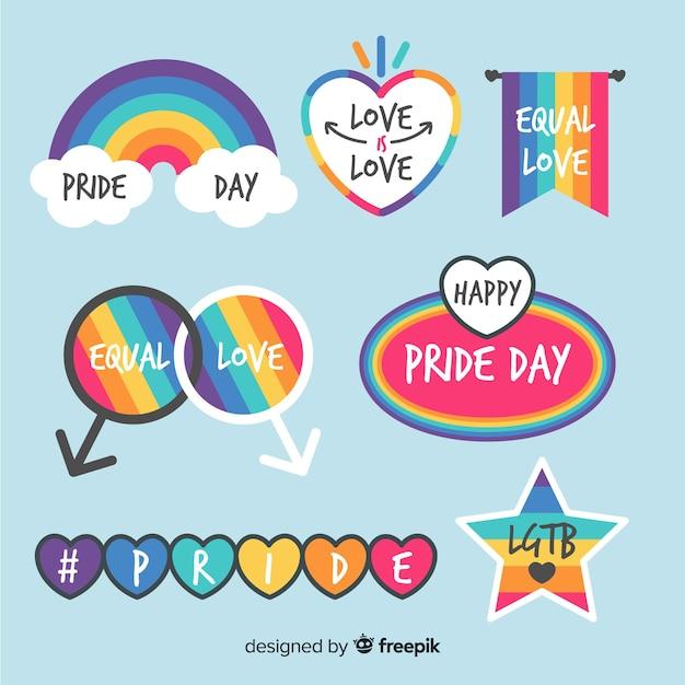 Collezione di etichette colorate giorno orgoglio Vettore gratuito