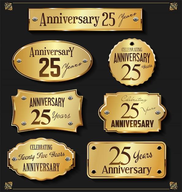 Collezione di etichette d'oro anniversario elegante Vettore Premium