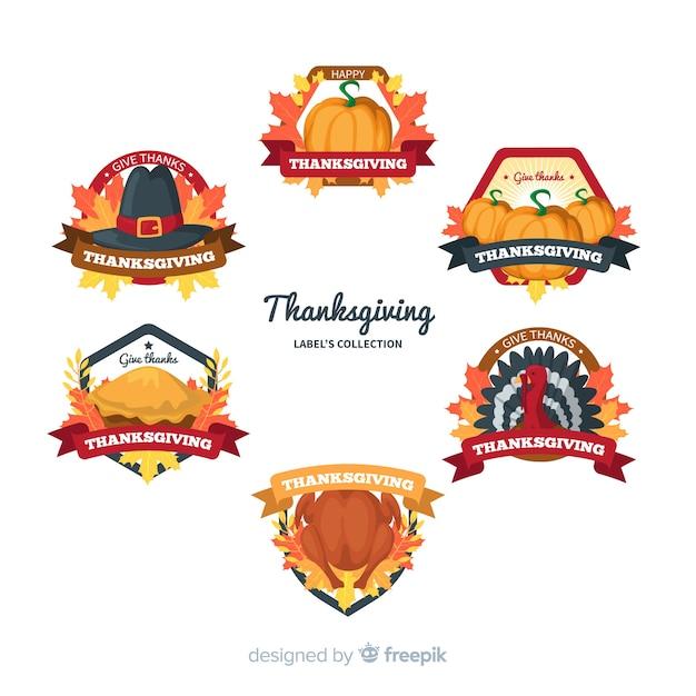 Collezione di etichette del giorno del ringraziamento Vettore gratuito