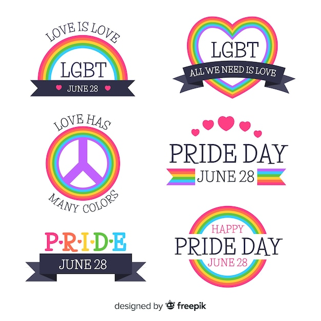 Collezione di etichette del giorno dell'orgoglio Vettore gratuito
