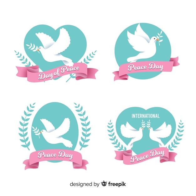 Collezione di etichette design piatto giorno della pace Vettore gratuito