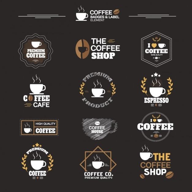 Collezione di etichette di caffè Vettore gratuito