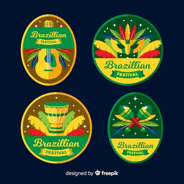 Collezione di etichette di carnevale brasiliano Vettore gratuito