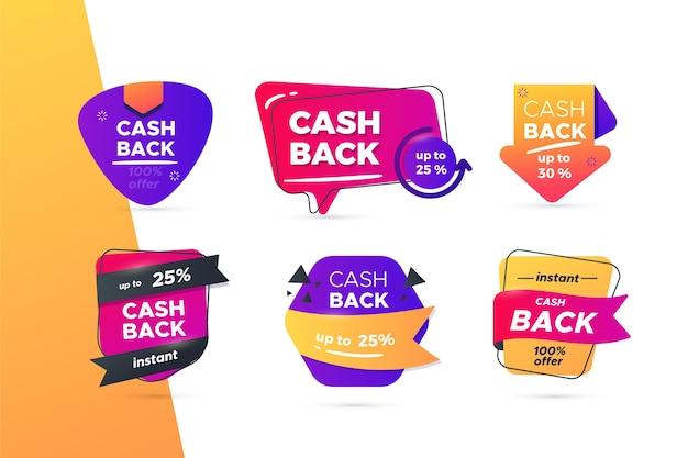 Collezione di etichette di cashback creative Vettore gratuito