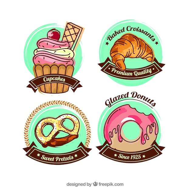 Collezione di etichette di cibo dolce con design piatto Vettore gratuito