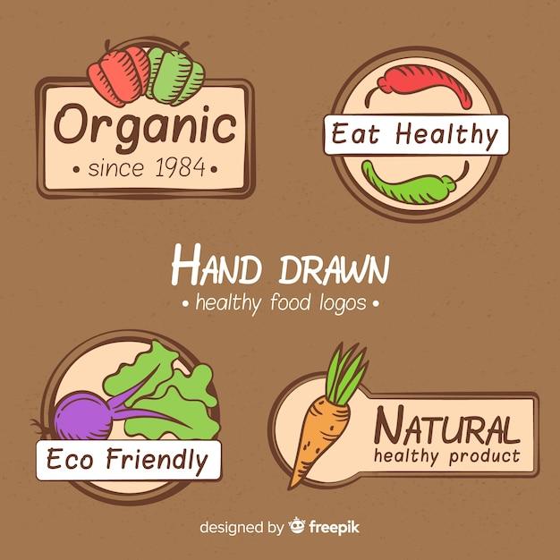 Collezione di etichette di cibo naturale disegnato a mano Vettore gratuito