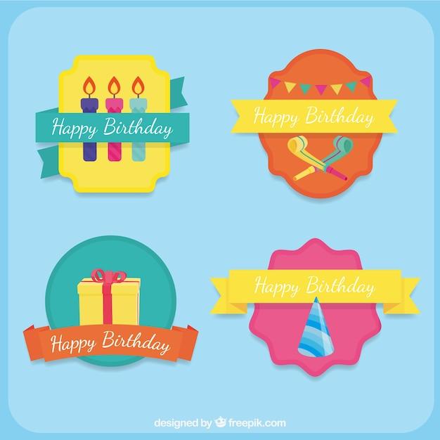 Collezione di etichette di compleanno Vettore gratuito
