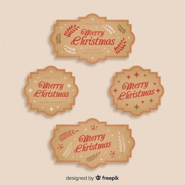 Collezione di etichette di natale vintage Vettore gratuito