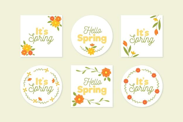 Collezione di etichette di primavera design piatto Vettore gratuito