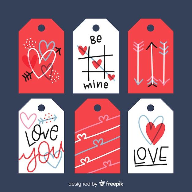 Collezione di etichette di san valentino Vettore gratuito
