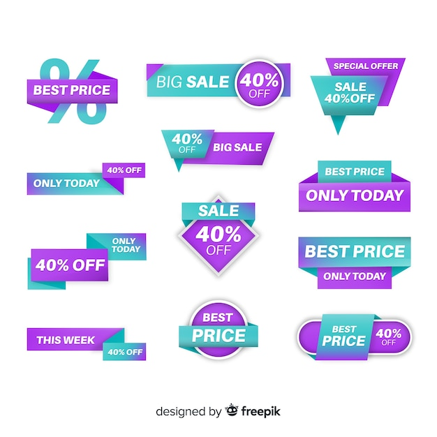 Collezione di etichette di vendita gradiente Vettore gratuito