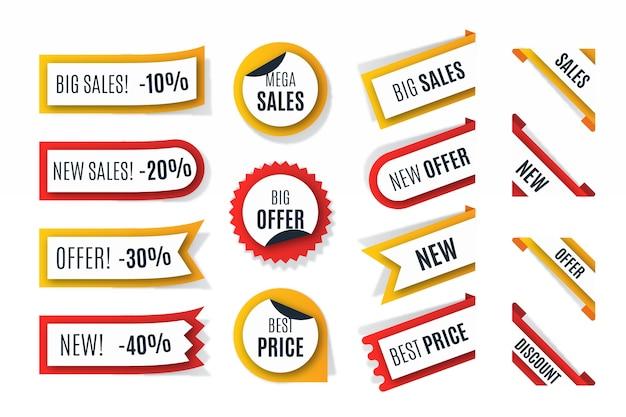 Collezione di etichette di vendita realistica Vettore gratuito