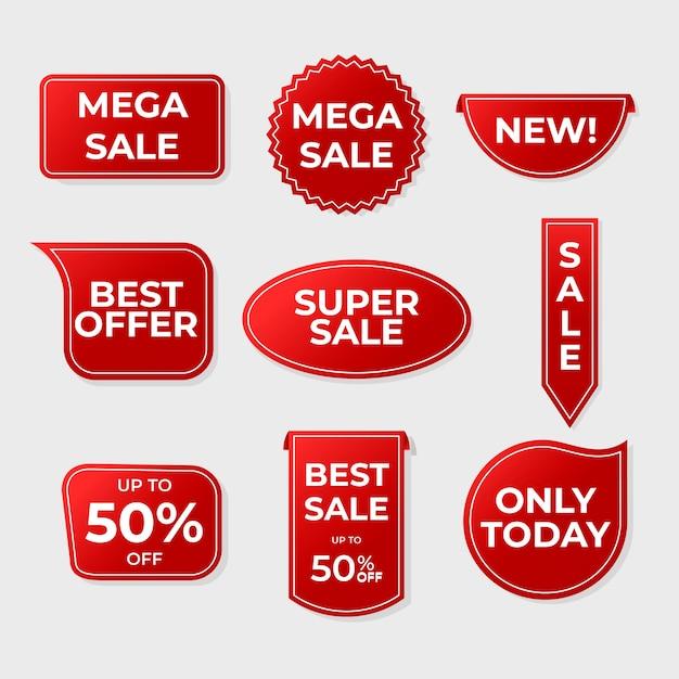 Collezione di etichette di vendita rosso realistico Vettore gratuito