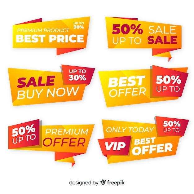Collezione di etichette di vendita Vettore gratuito